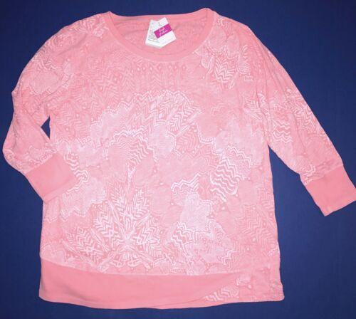 FRESH PRODUCE Medium Peony Pink EMILY White Tides 3//4 Sleeve Top $65 NWT New M