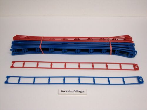 """26 Micro Knex Track Blue /& Red 16/"""" Straight #50542 Doubleshot Coaster Parts"""