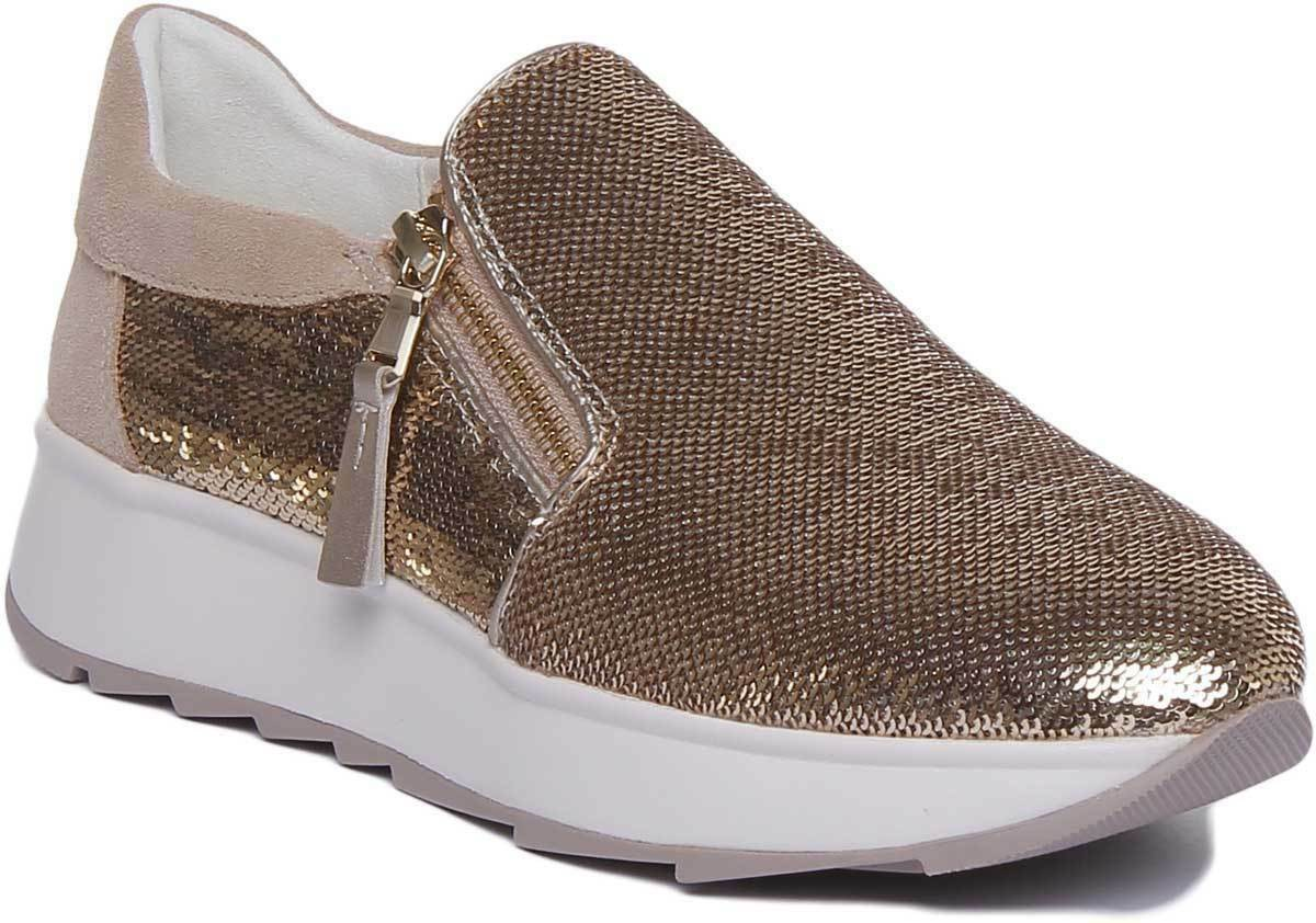 Geox Gendry Womens gold Synthetic Platform Trainers UK Size 3 - 8