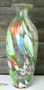 Large-Hand-Blown-Art-Glass-Vase-13-inches-high-Green-Orange-Blue-Glass