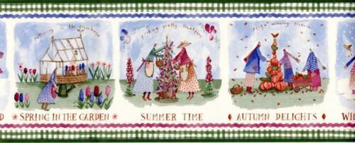 The Four Seasons Country Vintage Primitive Folk Art Blue Wallpaper Border bath