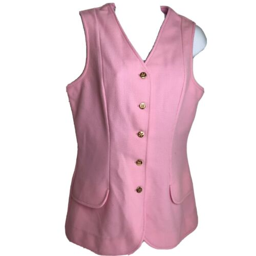 Catalina Vintage Pink 1970s Gold Button Up Vest Si