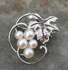 Genuine Mikimoto Pearl Sterling Silver Brooch Pin Lovely Vintage Condition FREE post