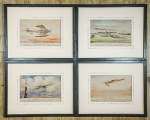 Rare Naive Early Aviation Paintings with Handwritten Notes. Signed Dated 1913.
