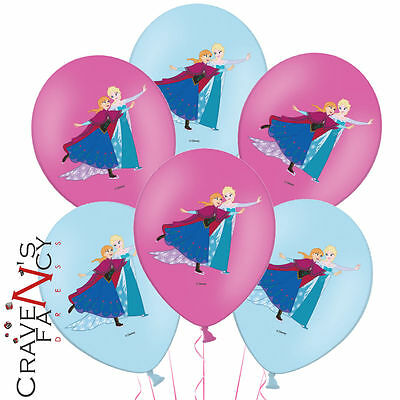 6 x Disney Frozen Princess Elsa & Anna Birthday Party Latex Balloons Decorations