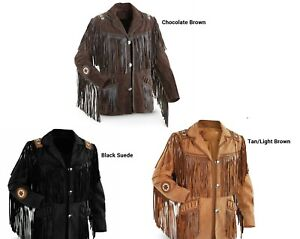 Vipzi Mens New Western wear Beige Suede Leather Jacket Fringe All size