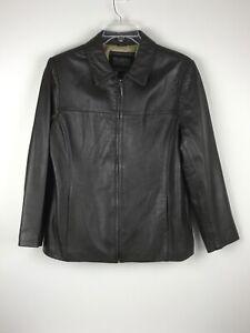 Wilsons-Pelle-Studio-Soft-Dark-Brown-Leather-Full-Zip-Jacket-Women-039-s-Large