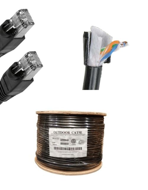 300'FT CAT5 OUTDOOR WATERPROOF ETHERNET CABLE CAT5e Direct Burial Internet RJ45