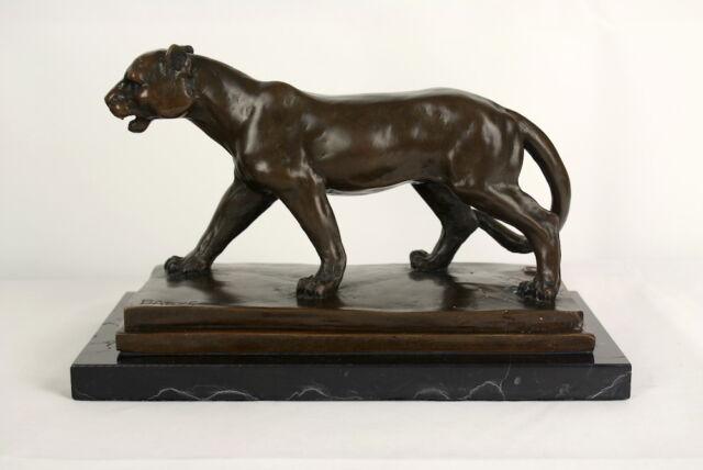 Antoine Louis BARYE (1796-1875) Imposante Bronzefigur Panther auf Marmorsockel