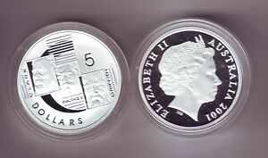 2001-Silver-5-Proof-Coin-Federation-Parkes-Clark-Griffin-ex-Masterpieces-in-Set