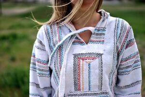 Baja Hoodie Drug Rug Jacket Pullover Poncho Mexican