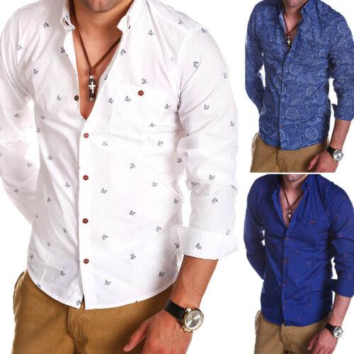 SHINE Originals Uomo Camicia con taschino Maritim Polo Bianco//Blu Nuovo