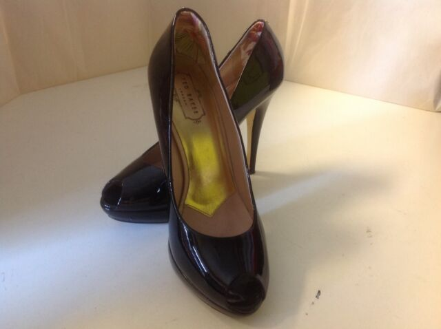 Ted Baker Svana 5 Stilettos 10 M Black Patent Leather Platform Peep Toe Pump