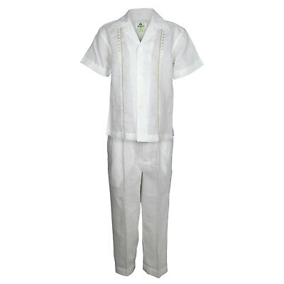 Discreto Bambini Bianco 100% Lino Set Khaki Ricamo Camicia Con Pantaloni Taglie 12m To