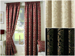 Crompton-Pencil-Pleat-Lined-Ready-Made-Curtains-Jacquard-Damask-Gold-Modern-UK