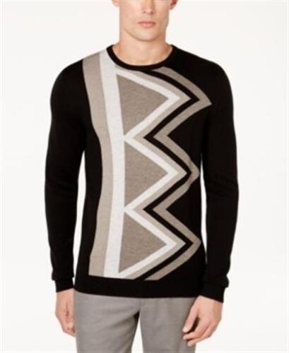 Alfani Geometric Cashmere Blend Sweater Black Mens XL New