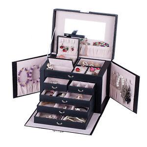 Large-Jewelry-Box-Ring-Necklace-Display-Storage-Organizer-Travel-Case-Lock-ZG245