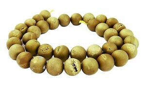 Drusenachat-10-mm-matt-gold-braune-Kugeln-Achat-mit-Drusen-Kristalle