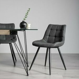Seurat - Pair of Black Faux Suede Chairs with Sand Black Powder Coated Legs