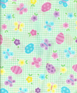 ADORABLE-GREEN-WHITE-CHECKS-EITH-EASTER-EGGS-BUTTERFLY-FLOWERS-BTY