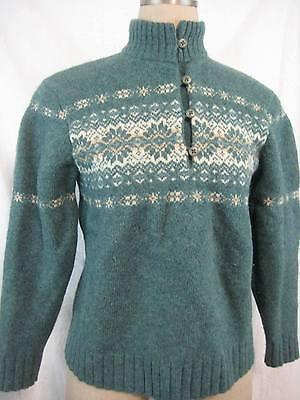 Vintage 70s Woolrich Lambswool Nordic Sweater Size S Green Mock Turtleneck