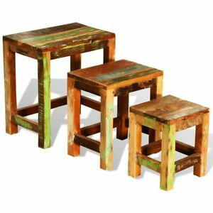 Antique-Nesting-End-Tables-3pcs-Set-Side-Table-Stand-Stool-Reclaimed-Wood-Finish