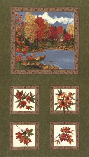 "6610 15 Green 24/"" x 45/"" MODA Quilt Panel ~ MAPLE ISLAND ~ Holly Taylor"