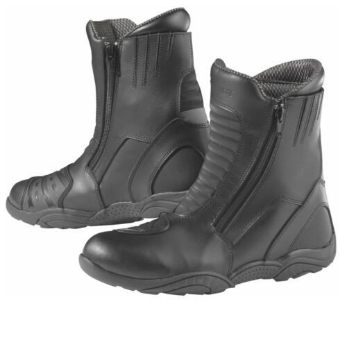 Germot Motorrad Stiefel Trip Leder Schuhe Schwarz Knöchelschutz Orthopädisch