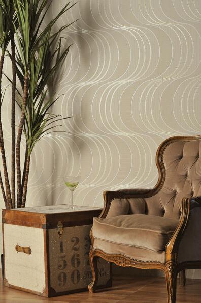 4 ROLLS OF  Beige & Gold Glitter, Decoratively Textured, Blown Vinyl Wallpaper