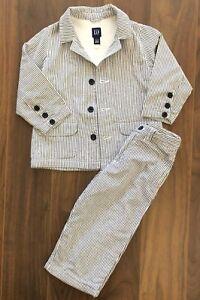 Baby Gap 2 3 Suit Jacket Blazer Seersucker Pants Easter Navy Blue