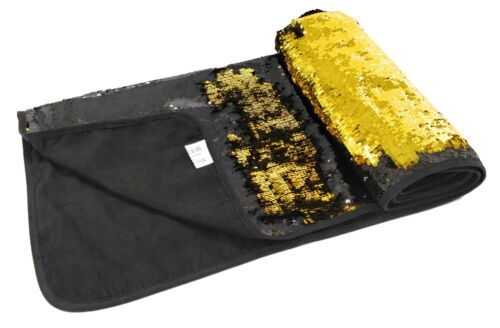 BLACK GOLD SEQUIN FLIP COLOUR CHANGE MERMAID BED RUNNER THROW 65CM X 200CM