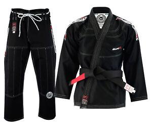 Malino-BJJ-Gi-Suit-Mens-Uniform-Brazilian-Jiu-Jitsu-Kimono-550G-White-Black-Blue
