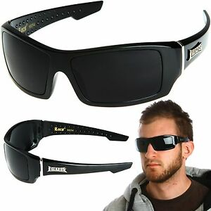 15e5c84b860 Image is loading LOCS-Rectangular-Gangster-Black-Shades-Mens-Designer- Sunglasses-