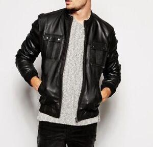 Men Leather Jacket Black Slim Fit Biker Genuine Lambskin Jacket