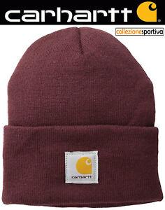 store comprare in vendita negozio del Regno Unito Dettagli su CAPPELLO BERRETTO CARHARTT ACRYLIC WATCH HAT - A18-PRT col.  bordeaux