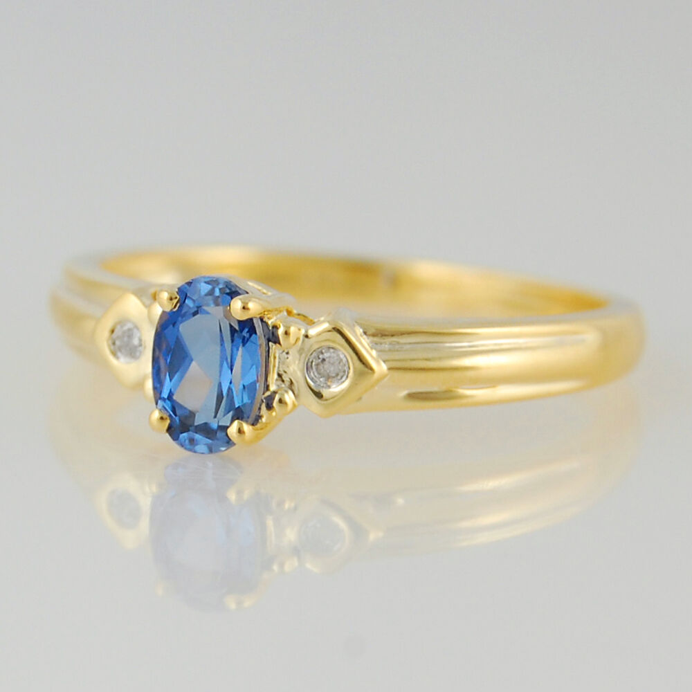 blueeSapphire 9k Yellow gold Solitaire Accents Ring