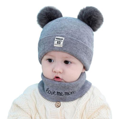 Toddler Kids Baby Boy Girls Winter Warm Pom Bobble Hat Knit Beanie Cap Scarf Set