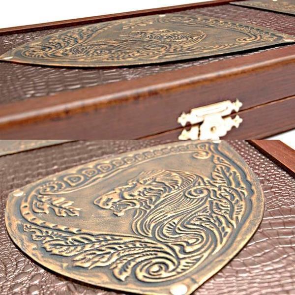 Conjunto De León Grande De Lujo De Madera Backgammon torneo piezas de cuero juego de mesa NUEVO