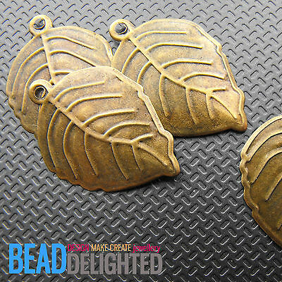 20 Antique Bronze Large Leaf Charms Metal Pendants 21 x 30mm Jewellery Making