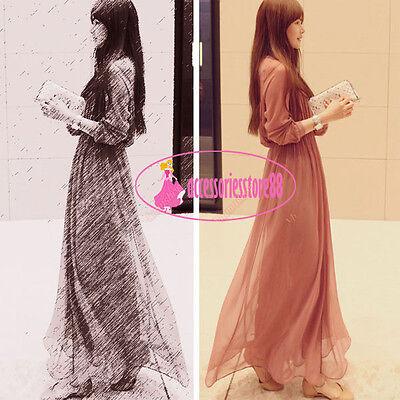 New Korean Womens 2pc Boho Chiffon V Long Maxi Beach Dress Waist Pleated Dresses