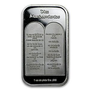 1 Oz Ten Commandments Silver Bar Spanish Sku 64383 Ebay