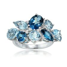 LONDON BLUE TOPAZ DEC BIRTHSTONE 925 STERLING SILVER CLUSTER FLOWER RING #BC5