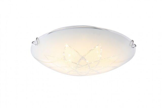 Traditionelle LED Deckenleuchte Metall weiß Glas opal, Blüte satiniert 12,00W  G