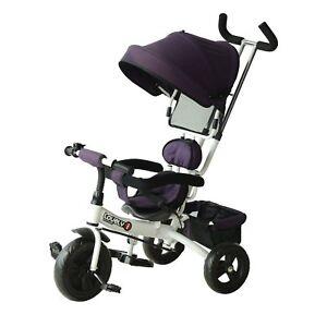 HOMCOM  Triciclo con Maniglione Deluxe con Tettuccio Parasole per Bambini