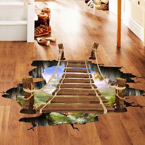 Das Bild Wird Geladen 3D Boden Wandaufkleber Bruecke Wandtattoo Vinyl Kunst  Wohnzimmer