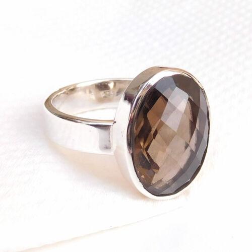Wholesale 925 Sterling Silver Quartz fumé cristal quartz bague taille choisir-S045