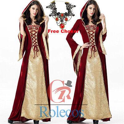 Women Renaissance Medieval Hood Costume Cosplay Dress Gown Halloween Free Choker