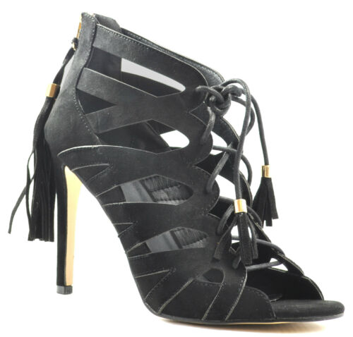 Ladies High Heel Lace Up Strappy Sandals Fringe Tassel Open Peep Toe Ankle Size