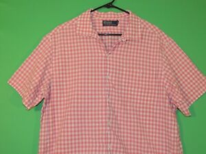 Polo Ralph Lauren Mens Size XL Extra Large Pink Plaid Short Slv Shirt AS-IS