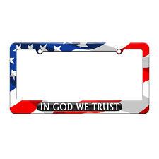 In God We Trust Black - USA License Plate Tag Frame American Flag Design